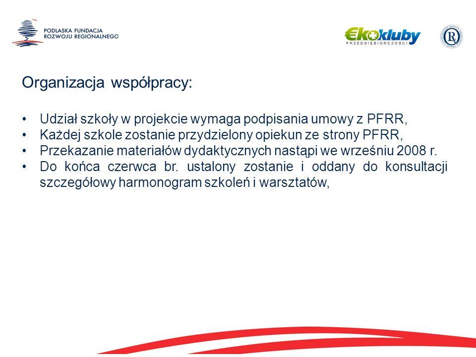 Organizacja współpracy: Udział szkoły w projekcie wymaga podpisania umowy z PFRR, Każdej szkole zostanie przydzielony opiekun ze strony PFRR, Przekazanie materiałów dydaktycznych nastąpi we wrześniu 2008 r.