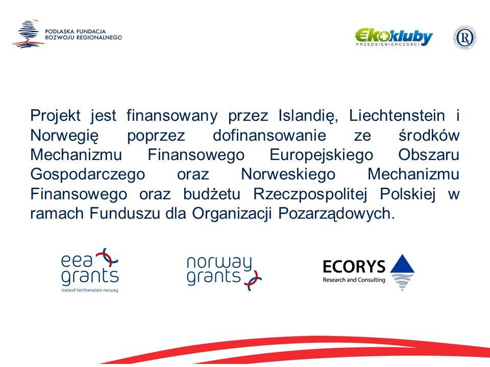 Projekt jest finansowany przez Islandię, Liechtenstein i Norwegię poprzez dofinansowanie ze środków Mechanizmu Finansowego Europejskiego Obszaru Gospodarczego oraz Norweskiego Mechanizmu Finansowego oraz budżetu Rzeczpospolitej Polskiej w ramach Funduszu dla Organizacji Pozarządowych.