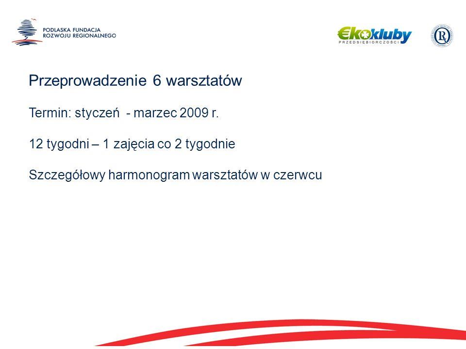 Przeprowadzenie 6 warsztatów Termin: styczeń - marzec 2009 r.