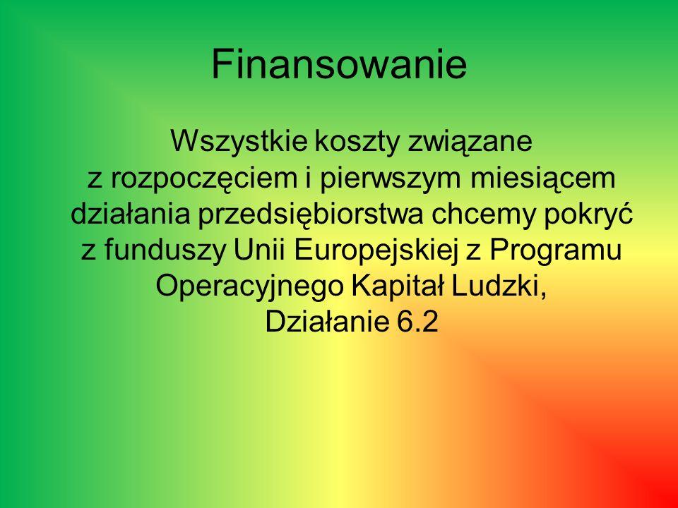 Finansowanie Wszystkie koszty związane z rozpoczęciem i pierwszym miesiącem działania przedsiębiorstwa chcemy pokryć z funduszy Unii Europejskiej z Pr