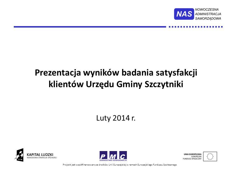 Projekt jest współfinansowany ze środków Unii Europejskiej w ramach Europejskiego Funduszu Społecznego Prezentacja wyników badania satysfakcji klientów Urzędu Gminy Szczytniki Luty 2014 r.