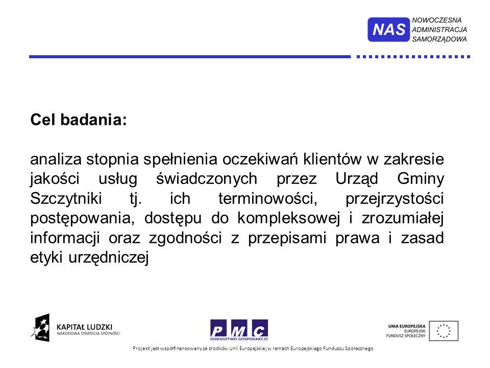 Projekt jest współfinansowany ze środków Unii Europejskiej w ramach Europejskiego Funduszu Społecznego Wzór ankiety: załącznik nr 1 do zarządzenia Wójta Gminy Szczytniki Termin badania: grudzień2013 r.