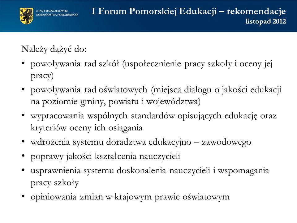 I Forum Pomorskiej Edukacji – rekomendacje listopad 2012 Należy dążyć do: powoływania rad szkół (uspołecznienie pracy szkoły i oceny jej pracy) powoły