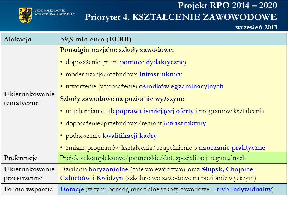 Alokacja59,9 mln euro (EFRR) Ukierunkowanie tematyczne Ponadgimnazjalne szkoły zawodowe: doposażenie (m.in. pomoce dydaktyczne) modernizacja/rozbudowa