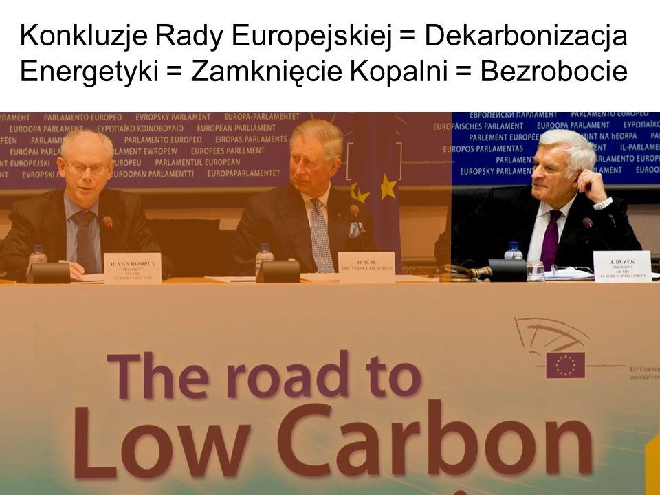Konkluzje Rady Europejskiej = Dekarbonizacja Energetyki = Zamknięcie Kopalni = Bezrobocie