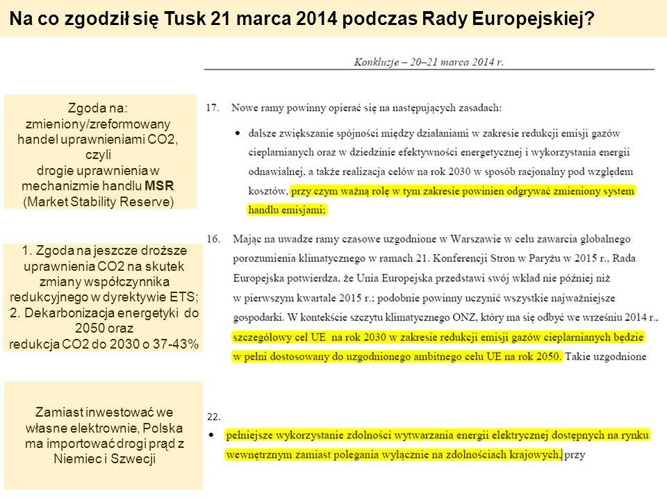 Na co zgodził się Tusk 21 marca 2014 podczas Rady Europejskiej? Zgoda na: zmieniony/zreformowany handel uprawnieniami CO2, czyli drogie uprawnienia w