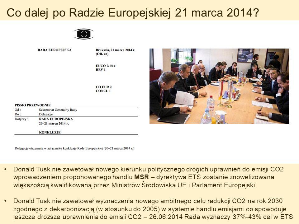 Co dalej po Radzie Europejskiej 21 marca 2014? Donald Tusk nie zawetował nowego kierunku politycznego drogich uprawnień do emisji CO2 wprowadzeniem pr