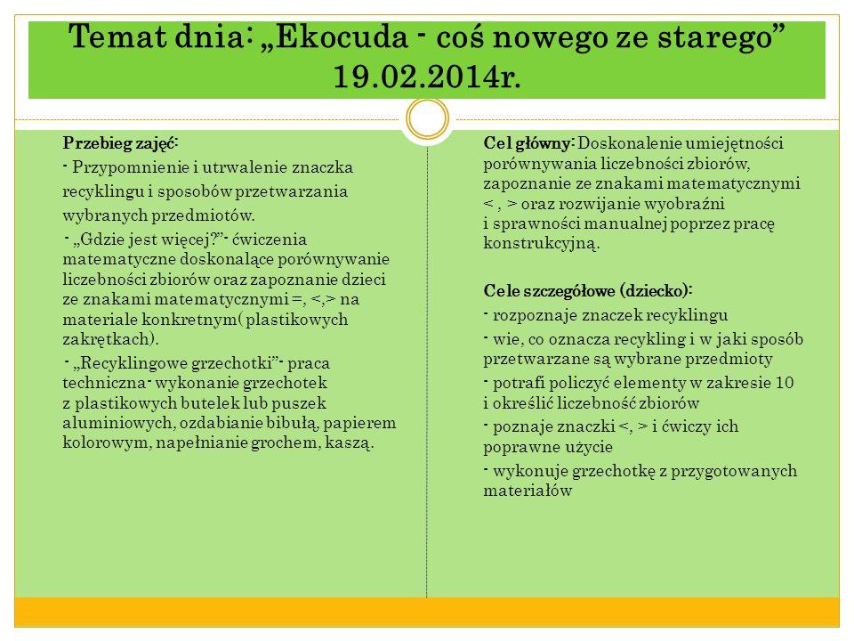 Temat dnia: Ekocuda - coś nowego ze starego 19.02.2014r.