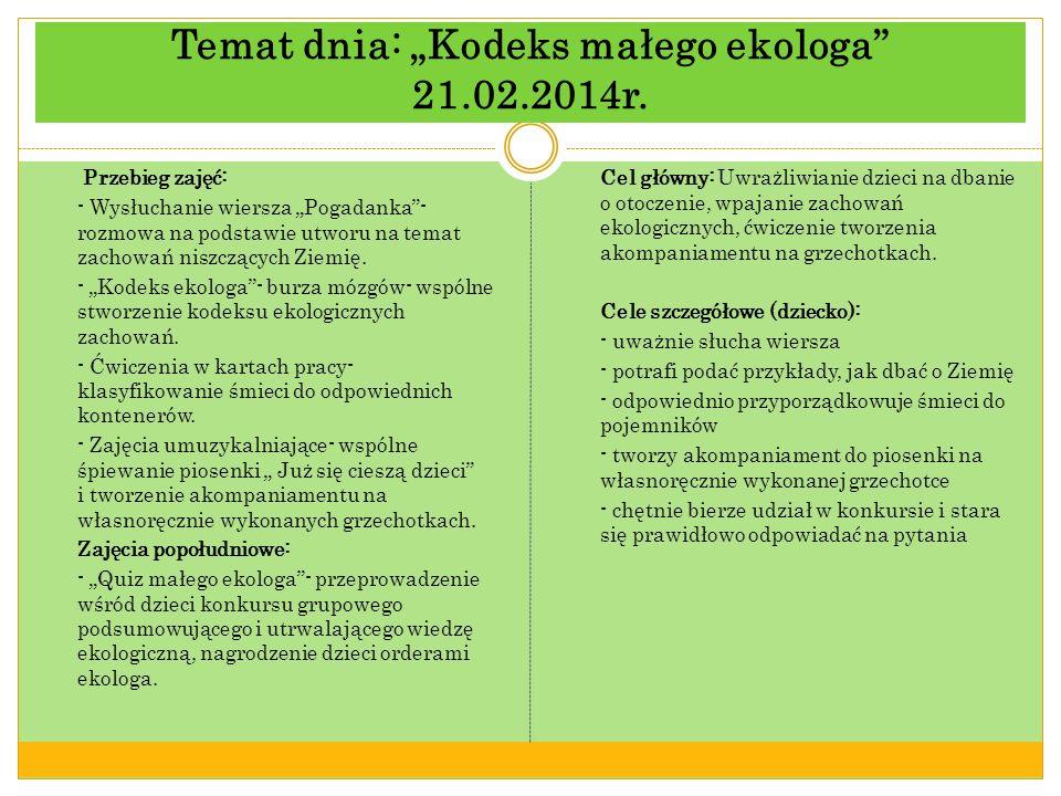 Temat dnia: Kodeks małego ekologa 21.02.2014r.