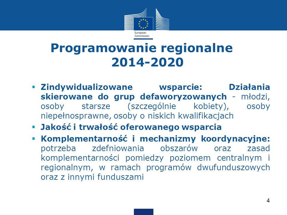 Programowanie regionalne 2014-2020 Zindywidualizowane wsparcie: Działania skierowane do grup defaworyzowanych - młodzi, osoby starsze (szczególnie kobiety), osoby niepełnosprawne, osoby o niskich kwalifikacjach Jakość i trwałość oferowanego wsparcia Komplementarność i mechanizmy koordynacyjne: potrzeba zdefniowania obszarów oraz zasad komplementarności pomiedzy poziomem centralnym i regionalnym, w ramach programów dwufunduszowych oraz z innymi funduszami 4