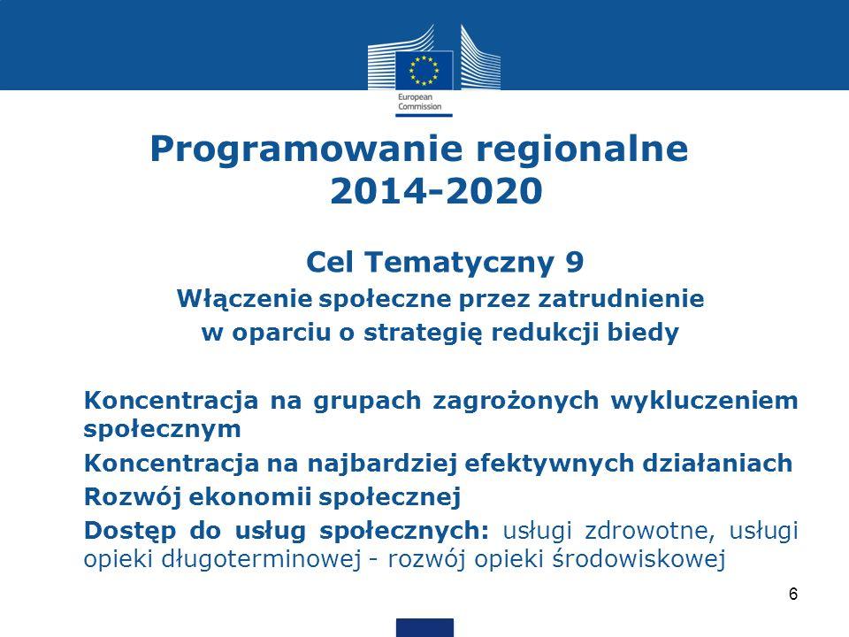 Programowanie regionalne 2014-2020 Cel Tematyczny 9 Włączenie społeczne przez zatrudnienie w oparciu o strategię redukcji biedy Koncentracja na grupach zagrożonych wykluczeniem społecznym Koncentracja na najbardziej efektywnych działaniach Rozwój ekonomii społecznej Dostęp do usług społecznych: usługi zdrowotne, usługi opieki długoterminowej - rozwój opieki środowiskowej 6