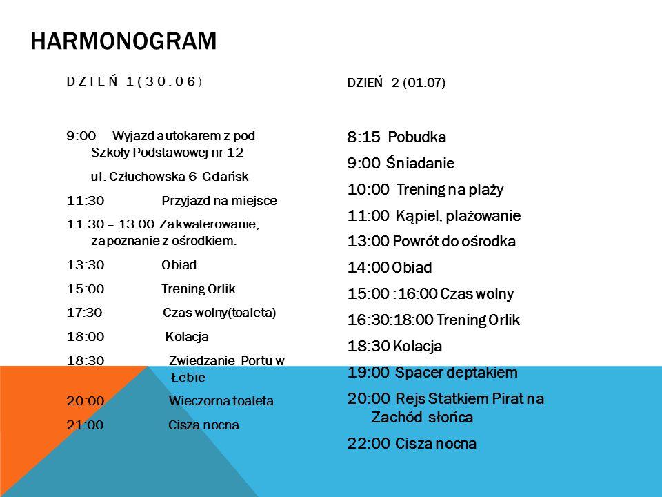 HARMONOGRAM DZIEŃ 1(30.06) 9:00 Wyjazd autokarem z pod Szkoły Podstawowej nr 12 ul. Człuchowska 6 Gdańsk 11:30 Przyjazd na miejsce 11:30 – 13:00 Zakwa