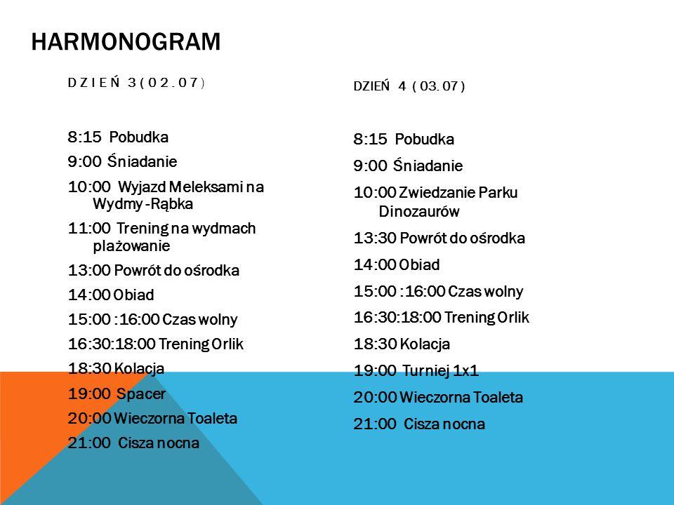 HARMONOGRAM DZIEŃ 3(02.07) 8:15 Pobudka 9:00 Śniadanie 10:00 Wyjazd Meleksami na Wydmy -Rąbka 11:00 Trening na wydmach plażowanie 13:00 Powrót do ośro
