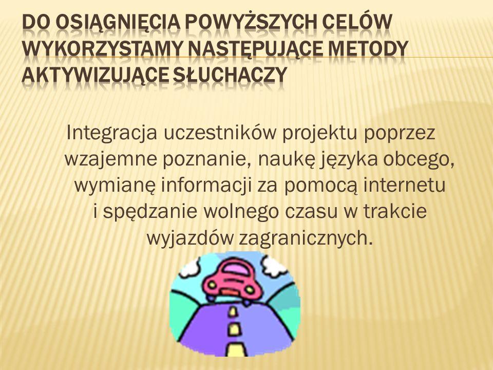 Integracja uczestników projektu poprzez wzajemne poznanie, naukę języka obcego, wymianę informacji za pomocą internetu i spędzanie wolnego czasu w trakcie wyjazdów zagranicznych.