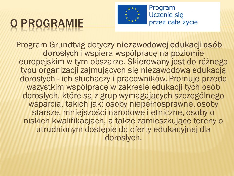 Program Grundtvig dotyczy niezawodowej edukacji osób dorosłych i wspiera współpracę na poziomie europejskim w tym obszarze.
