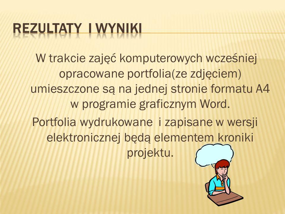 W trakcie zajęć komputerowych wcześniej opracowane portfolia(ze zdjęciem) umieszczone są na jednej stronie formatu A4 w programie graficznym Word.
