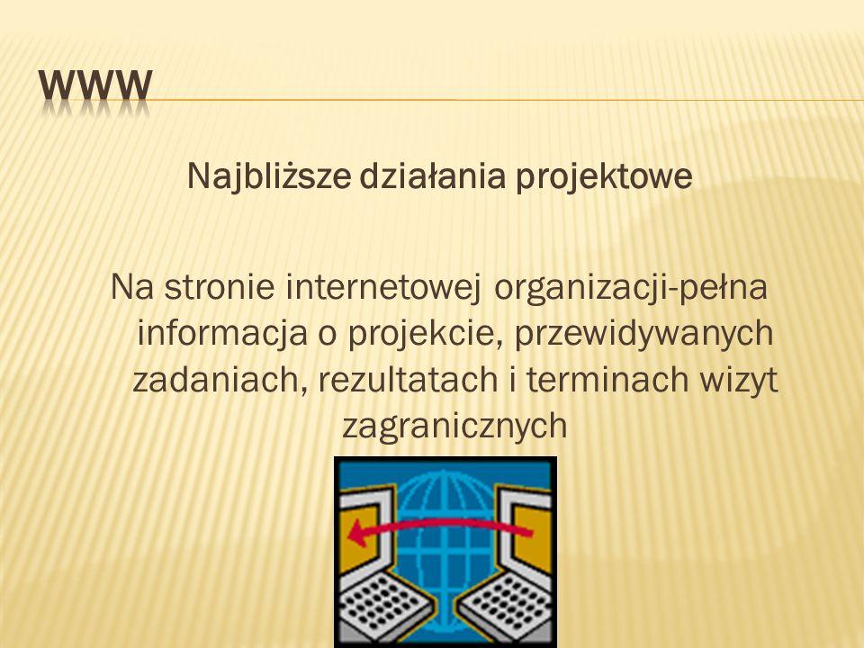 Najbliższe działania projektowe Na stronie internetowej organizacji-pełna informacja o projekcie, przewidywanych zadaniach, rezultatach i terminach wizyt zagranicznych