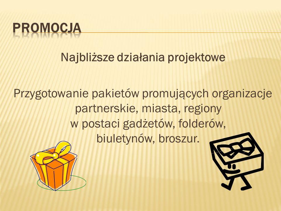 Najbliższe działania projektowe Przygotowanie pakietów promujących organizacje partnerskie, miasta, regiony w postaci gadżetów, folderów, biuletynów, broszur.