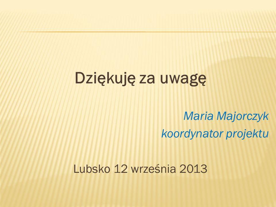 Dziękuję za uwagę Maria Majorczyk koordynator projektu Lubsko 12 września 2013