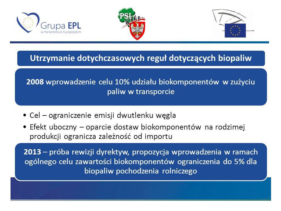 Utrzymanie dotychczasowych reguł dotyczących biopaliw 2008 wprowadzenie celu 10% udziału biokomponentów w zużyciu paliw w transporcie Cel – ograniczenie emisji dwutlenku węgla Efekt uboczny – oparcie dostaw biokomponentów na rodzimej produkcji ogranicza zależność od importu 2013 – próba rewizji dyrektyw, propozycja wprowadzenia w ramach ogólnego celu zawartości biokomponentów ograniczenia do 5% dla biopaliw pochodzenia rolniczego