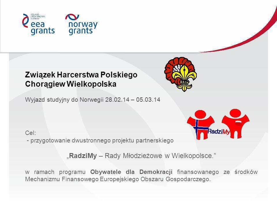 Cel: - przygotowanie dwustronnego projektu partnerskiego RadziMy – Rady Młodzieżowe w Wielkopolsce. w ramach programu Obywatele dla Demokracji finanso