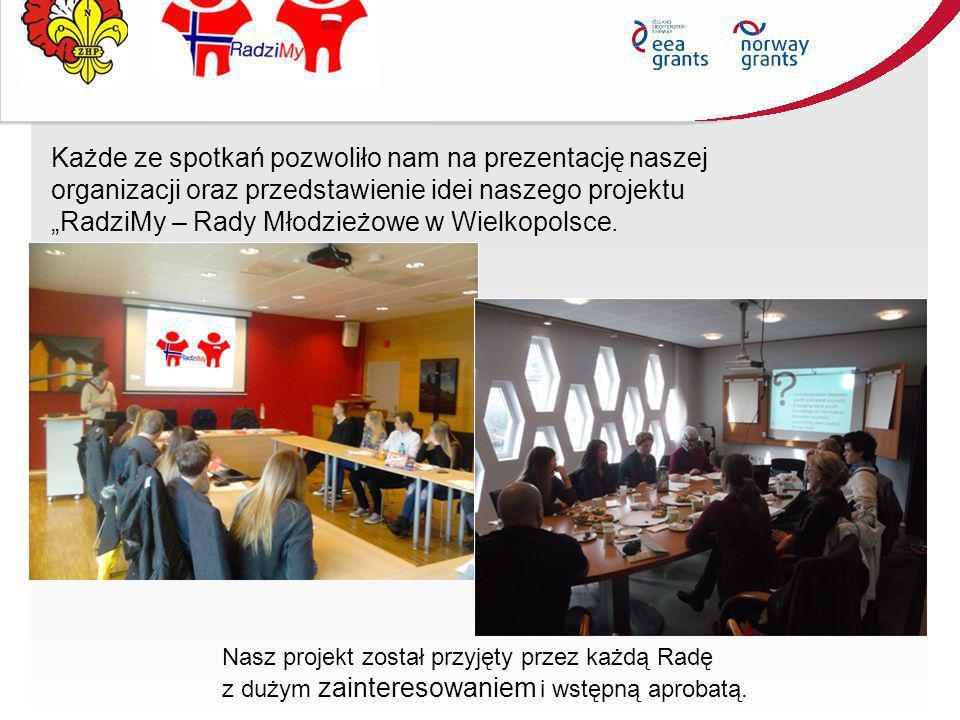 Każde ze spotkań pozwoliło nam na prezentację naszej organizacji oraz przedstawienie idei naszego projektu RadziMy – Rady Młodzieżowe w Wielkopolsce.