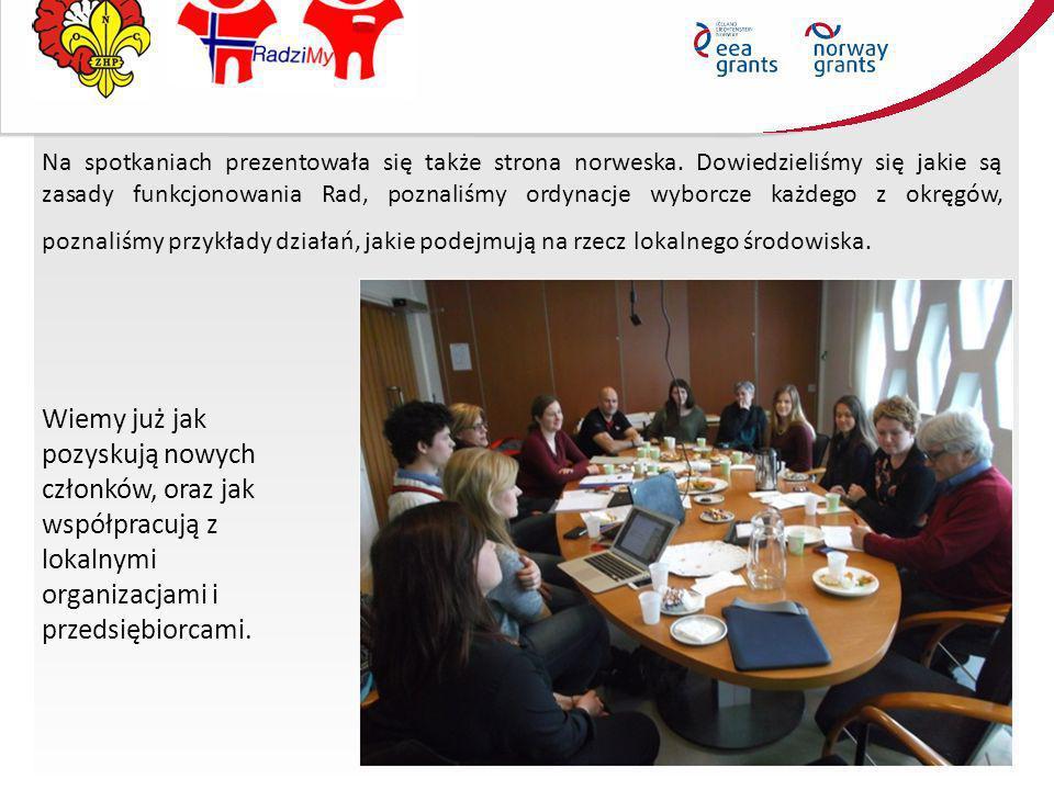 Na spotkaniach prezentowała się także strona norweska. Dowiedzieliśmy się jakie są zasady funkcjonowania Rad, poznaliśmy ordynacje wyborcze każdego z
