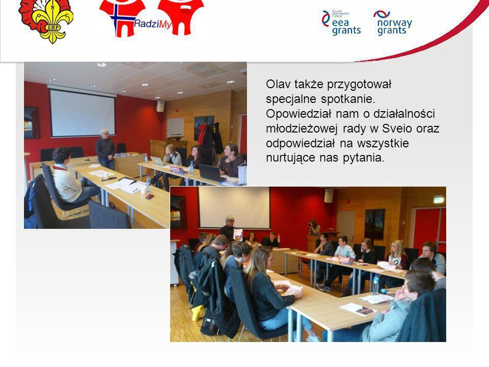Olav także przygotował specjalne spotkanie. Opowiedział nam o działalności młodzieżowej rady w Sveio oraz odpowiedział na wszystkie nurtujące nas pyta