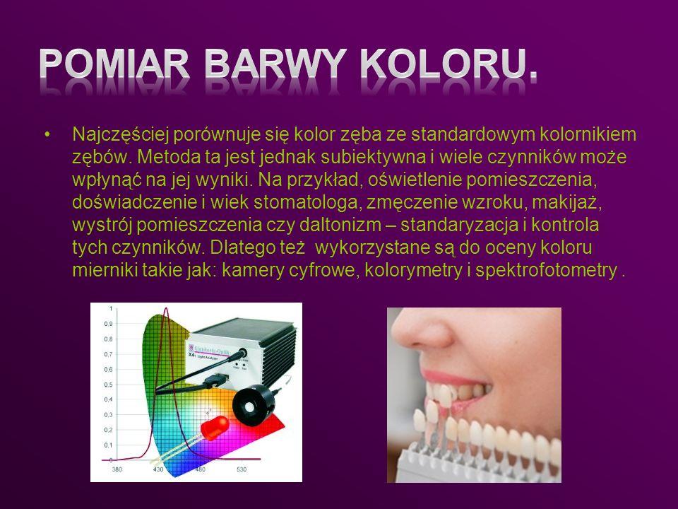 Najczęściej porównuje się kolor zęba ze standardowym kolornikiem zębów. Metoda ta jest jednak subiektywna i wiele czynników może wpłynąć na jej wyniki