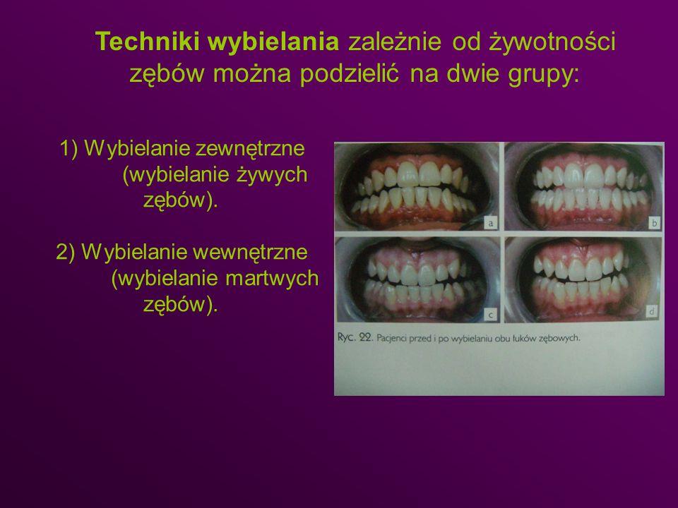1) Wybielanie zewnętrzne (wybielanie żywych zębów). 2) Wybielanie wewnętrzne (wybielanie martwych zębów). Techniki wybielania zależnie od żywotności z