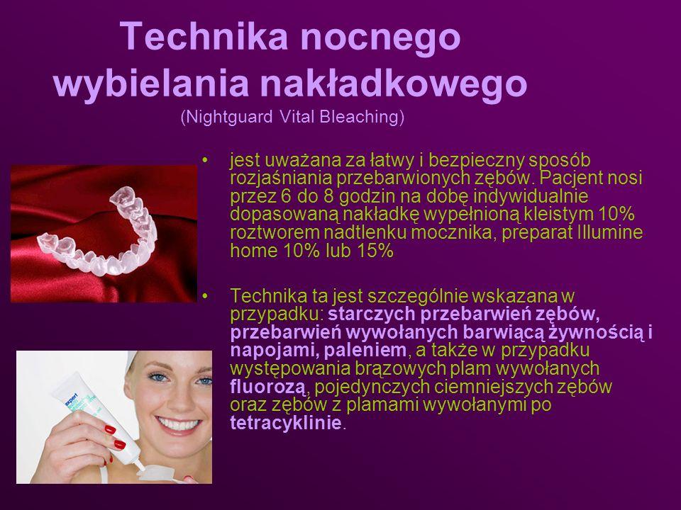 Technika nocnego wybielania nakładkowego (Nightguard Vital Bleaching) jest uważana za łatwy i bezpieczny sposób rozjaśniania przebarwionych zębów. Pac
