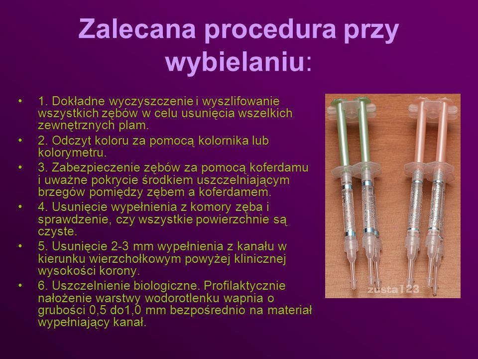 Zalecana procedura przy wybielaniu: 1. Dokładne wyczyszczenie i wyszlifowanie wszystkich zębów w celu usunięcia wszelkich zewnętrznych plam. 2. Odczyt