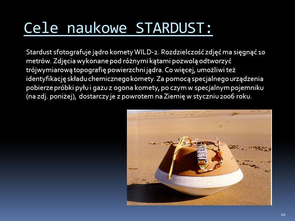 10 Cele naukowe STARDUST: Stardust sfotografuje jądro komety WILD-2. Rozdzielczość zdjęć ma sięgnąć 10 metrów. Zdjęcia wykonane pod różnymi kątami poz
