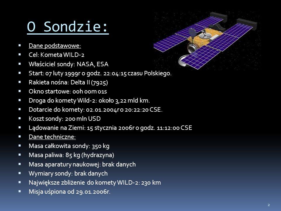 2 Dane podstawowe: Cel: Kometa WILD-2 Właściciel sondy: NASA, ESA Start: 07 luty 1999r o godz. 22:04:15 czasu Polskiego. Rakieta nośna: Delta II (7925