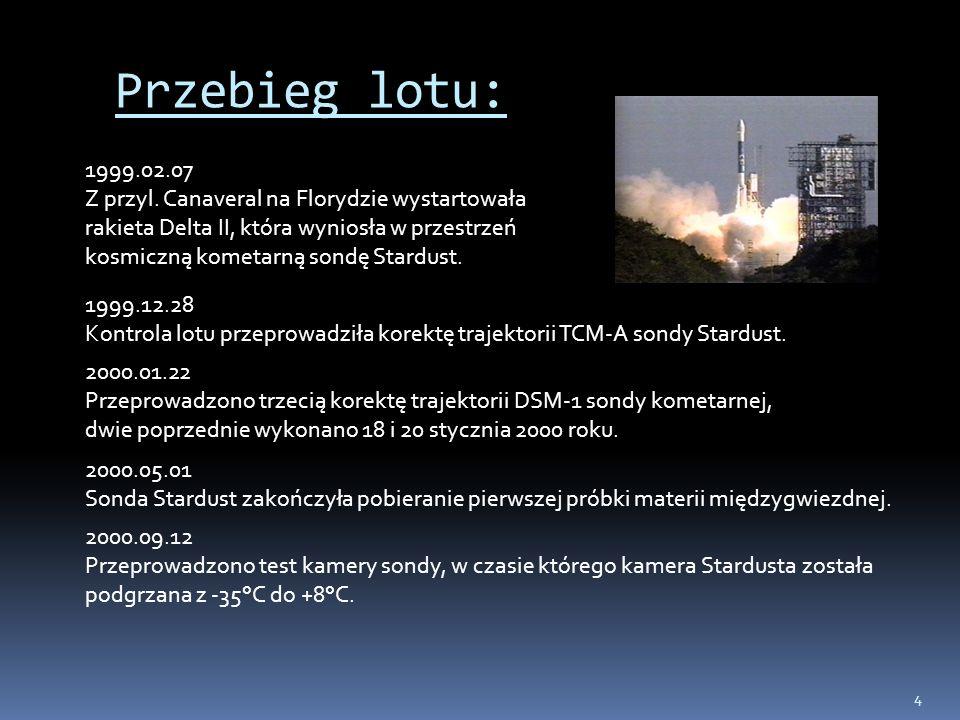 4 Przebieg lotu: 1999.02.07 Z przyl. Canaveral na Florydzie wystartowała rakieta Delta II, która wyniosła w przestrzeń kosmiczną kometarną sondę Stard
