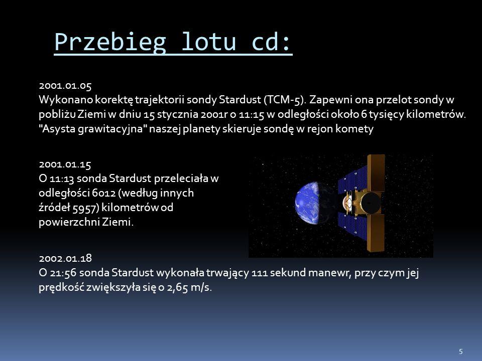 5 Przebieg lotu cd: 2001.01.05 Wykonano korektę trajektorii sondy Stardust (TCM-5). Zapewni ona przelot sondy w pobliżu Ziemi w dniu 15 stycznia 2001r