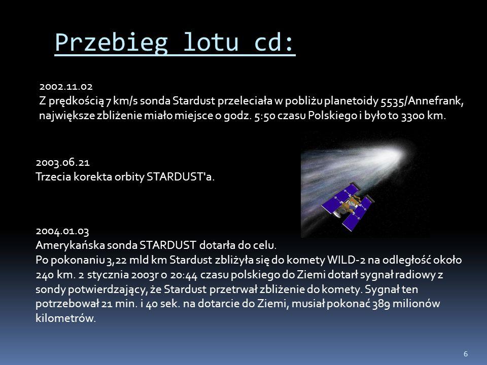 6 Przebieg lotu cd: 2002.11.02 Z prędkością 7 km/s sonda Stardust przeleciała w pobliżu planetoidy 5535/Annefrank, największe zbliżenie miało miejsce