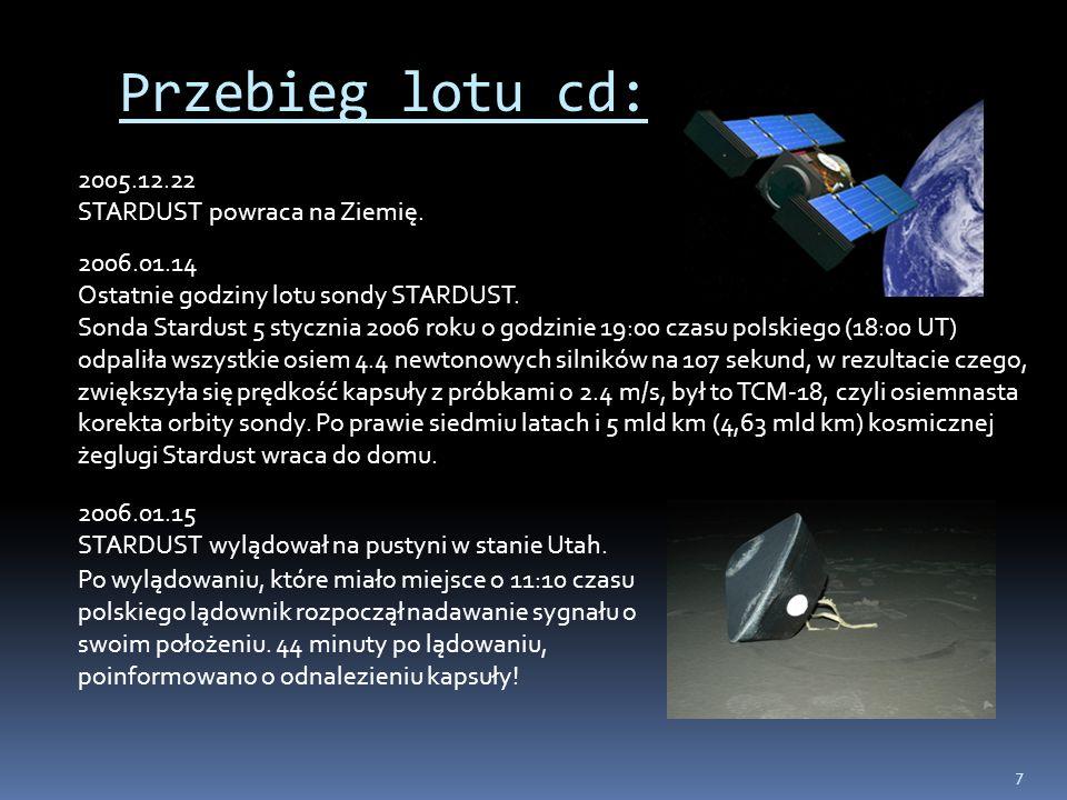 7 Przebieg lotu cd: 2005.12.22 STARDUST powraca na Ziemię. 2006.01.14 Ostatnie godziny lotu sondy STARDUST. Sonda Stardust 5 stycznia 2006 roku o godz