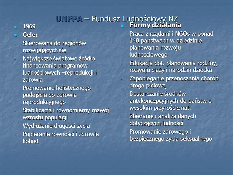 UNFPA – Fundusz Ludnościowy NZ 1969 1969 Cele: Cele: - Skierowana do regionów rozwijających się - Największe światowe źródło finansowania programów ludnościowych –reprodukcji i zdrowia - Promowanie holistycznego podejścia do zdrowia reprodukcyjnego - Stabilizacja i równomierny rozwój wzrostu populacji - Wydłużanie długości życia - Popieranie równości i zdrowia kobiet Formy działania Formy działania - Praca z rządami i NGOs w ponad 140 państwach w dziedzinie planowania rozwoju ludnościowego - Edukacja dot.
