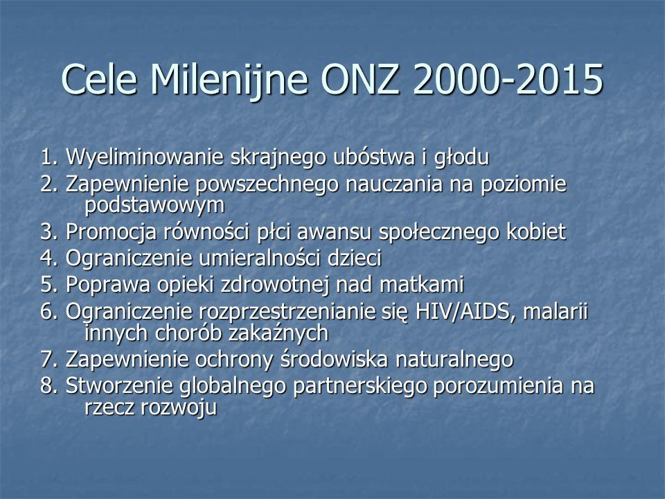 Cele Milenijne ONZ 2000-2015 1.Wyeliminowanie skrajnego ubóstwa i głodu 2.