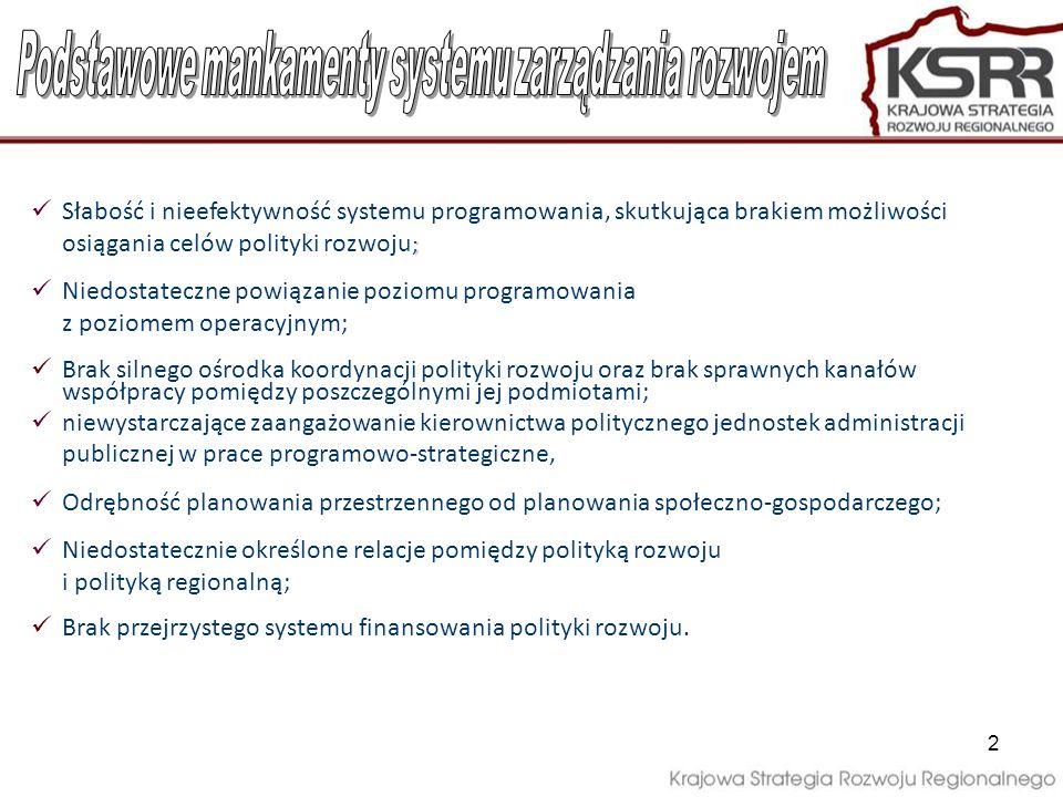 2 ; Słabość i nieefektywność systemu programowania, skutkująca brakiem możliwości osiągania celów polityki rozwoju ; Niedostateczne powiązanie poziomu