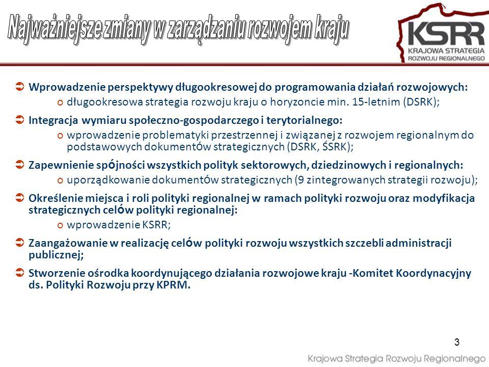 3 Wprowadzenie perspektywy długookresowej do programowania działań rozwojowych: odługookresowa strategia rozwoju kraju o horyzoncie min. 15-letnim (DS