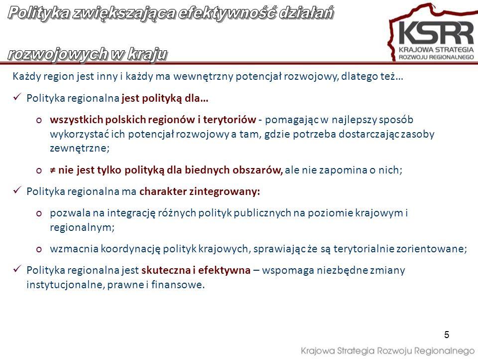 5 Każdy region jest inny i każdy ma wewnętrzny potencjał rozwojowy, dlatego też… Polityka regionalna jest polityką dla… owszystkich polskich regionów