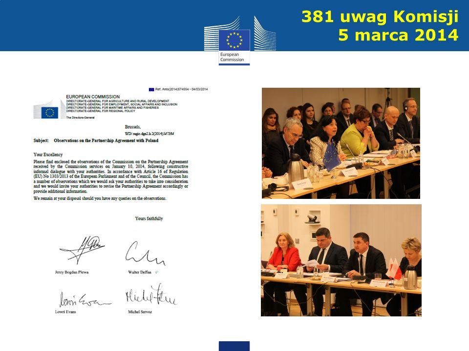 381 uwag Komisji 5 marca 2014