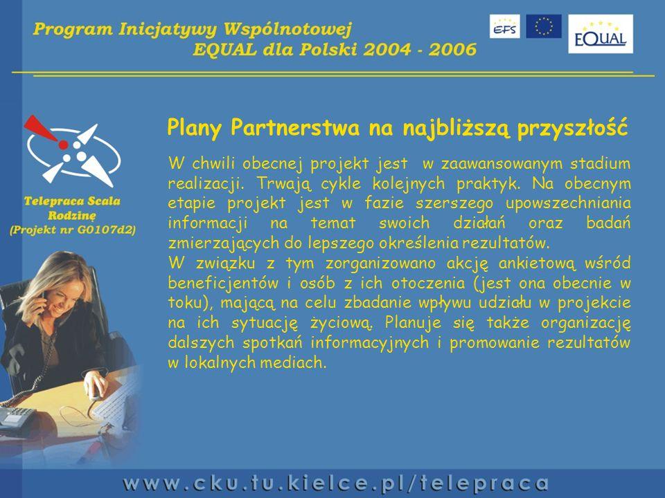 Plany Partnerstwa na najbliższą przyszłość W chwili obecnej projekt jest w zaawansowanym stadium realizacji.