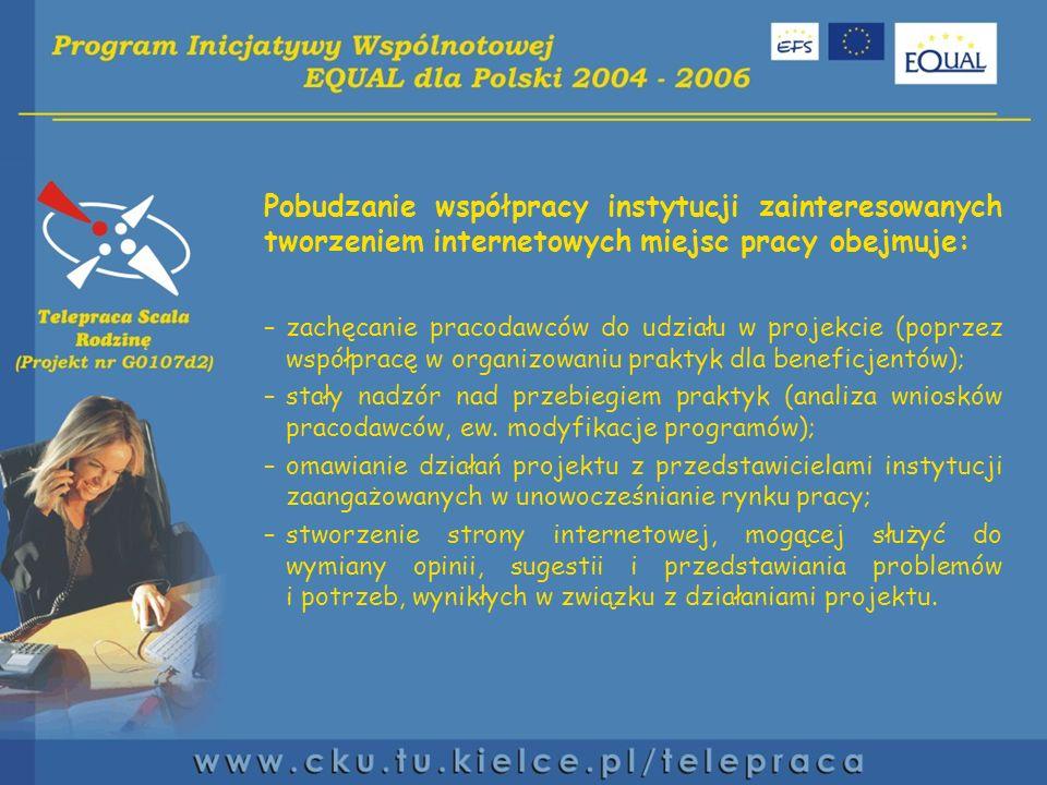 Pobudzanie współpracy instytucji zainteresowanych tworzeniem internetowych miejsc pracy obejmuje: –zachęcanie pracodawców do udziału w projekcie (poprzez współpracę w organizowaniu praktyk dla beneficjentów); –stały nadzór nad przebiegiem praktyk (analiza wniosków pracodawców, ew.