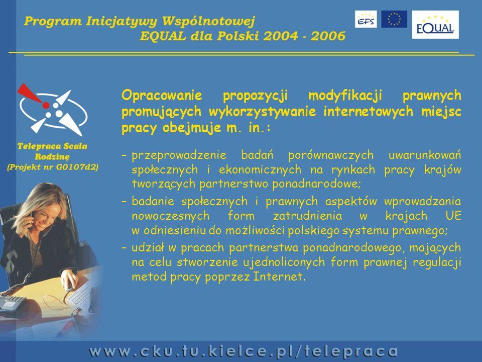 Opracowanie propozycji modyfikacji prawnych promujących wykorzystywanie internetowych miejsc pracy obejmuje m.