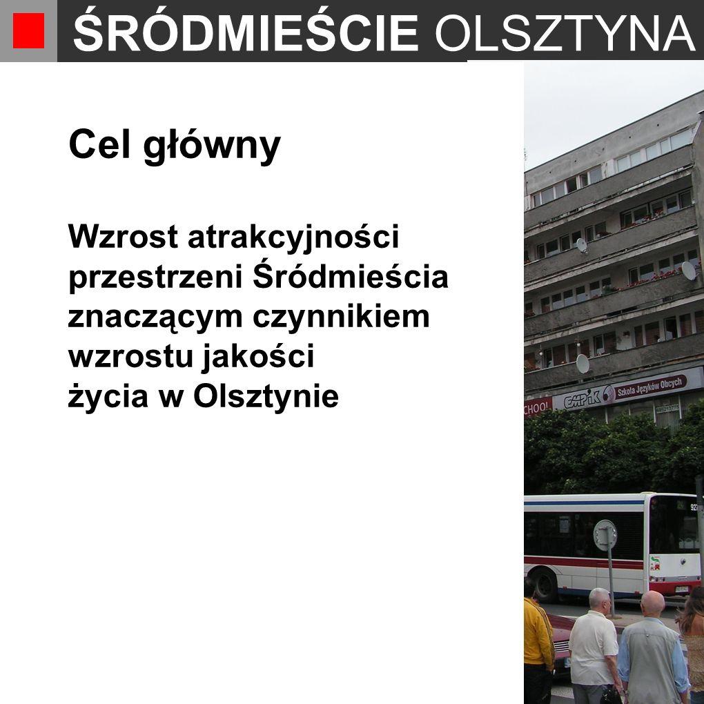 ŚRÓDMIEŚCIE OLSZTYNA Cel główny Wzrost atrakcyjności przestrzeni Śródmieścia znaczącym czynnikiem wzrostu jakości życia w Olsztynie