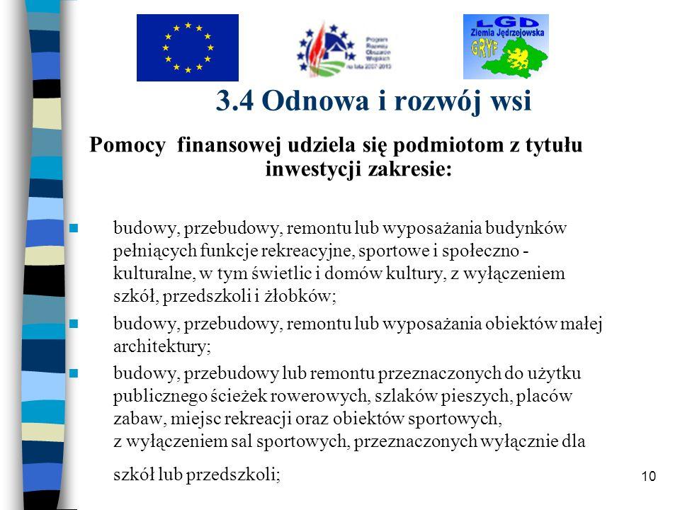 10 3.4 Odnowa i rozwój wsi Pomocy finansowej udziela się podmiotom z tytułu inwestycji zakresie: budowy, przebudowy, remontu lub wyposażania budynków