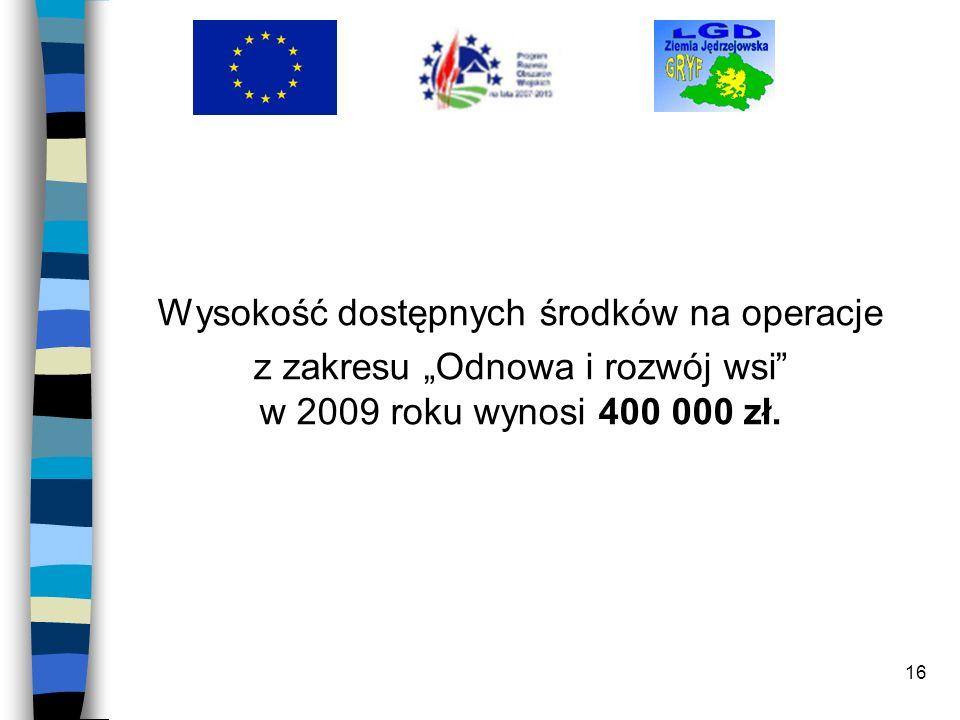 16 Wysokość dostępnych środków na operacje z zakresu Odnowa i rozwój wsi w 2009 roku wynosi 400 000 zł.
